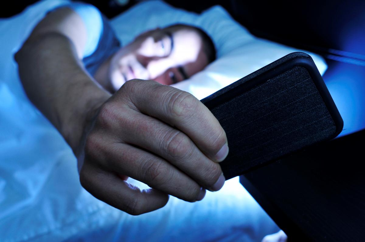 smartphone in bed