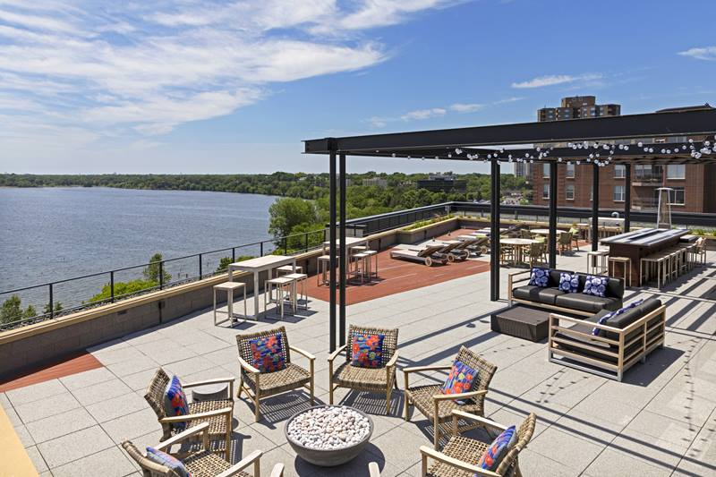 rooftop patio at The Lakes Residences