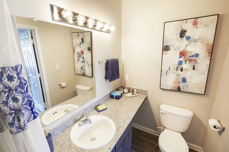 bathroom at Outpost at Waco Apartments
