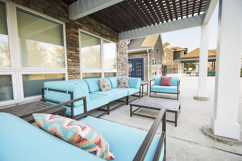 patio area at Outpost at Waco Apartments
