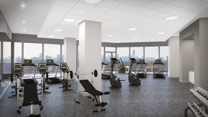 fitness center at Elevate Apartments