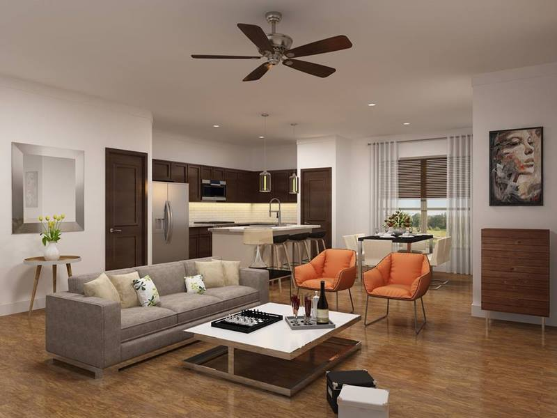 living room rendering at Townhomes at Lake Park Apartments