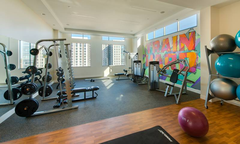 fitness center at The George Apartments