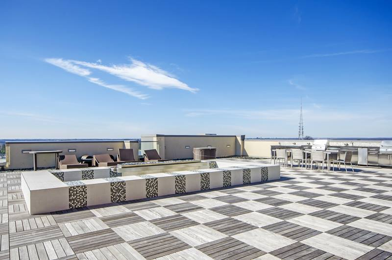 rooftop patio at The George Apartments