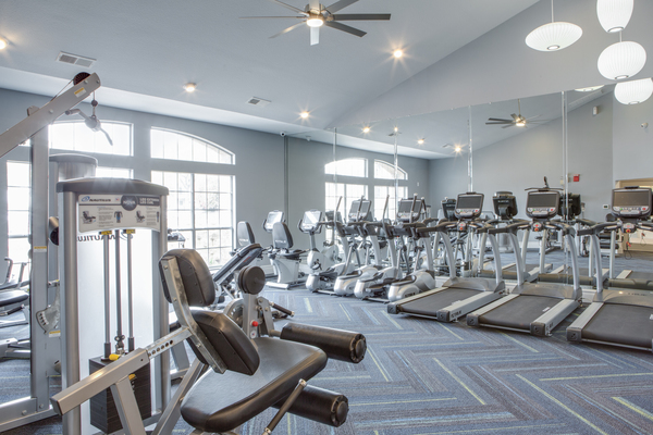 fitness center at The Palmer at Las Colinas Apartments