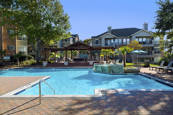 pool at The Palmer at Las Colinas Apartments