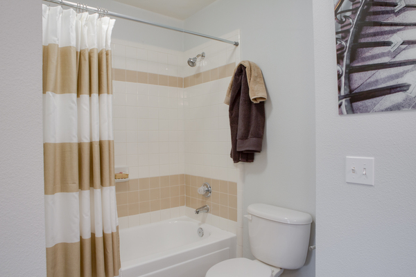 bathroom at The Palmer at Las Colinas Apartments