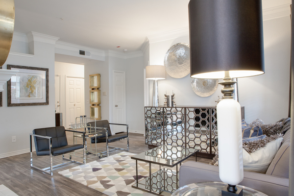 living room at The Palmer at Las Colinas Apartments