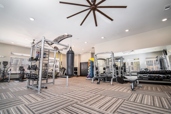 fitness center at The Woodford on Mockingbird apartments