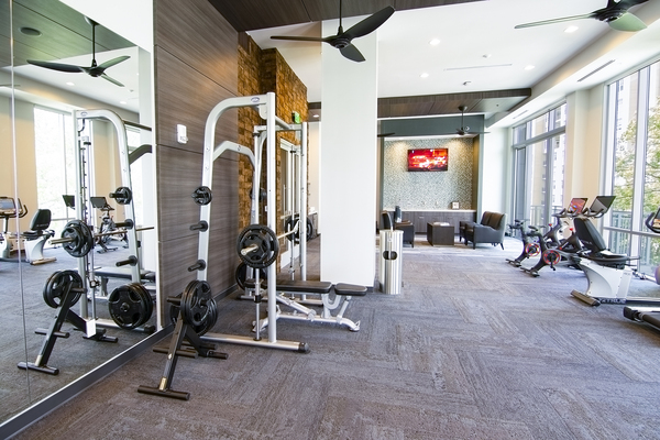 fitness center at Piedmont House Apartments