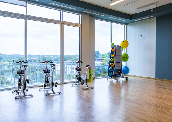 yoga/spin studio at Piedmont House Apartments