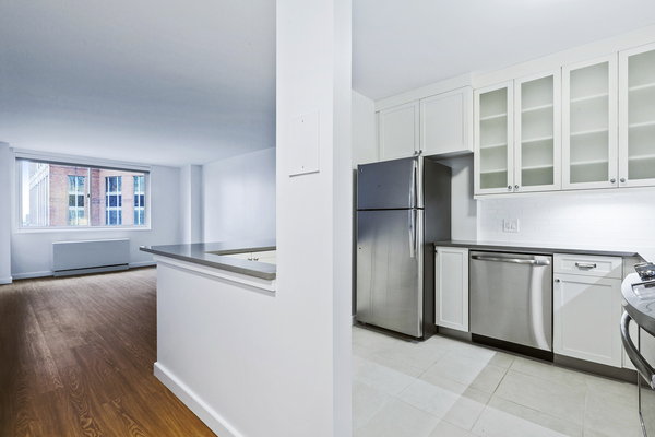 kitchen at Two Lincoln Square Apartments