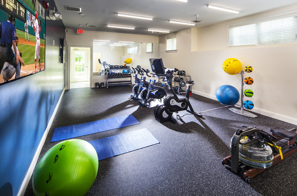 yoga/spin studio at Heritage at Bedford Springs Apartments