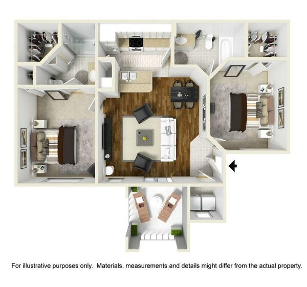 Churchill floor plan at Park Central Apartments - Belmont