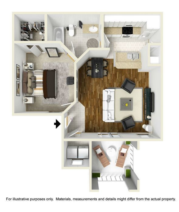 Balmoral floor plan at Park Central Apartments - Belmont