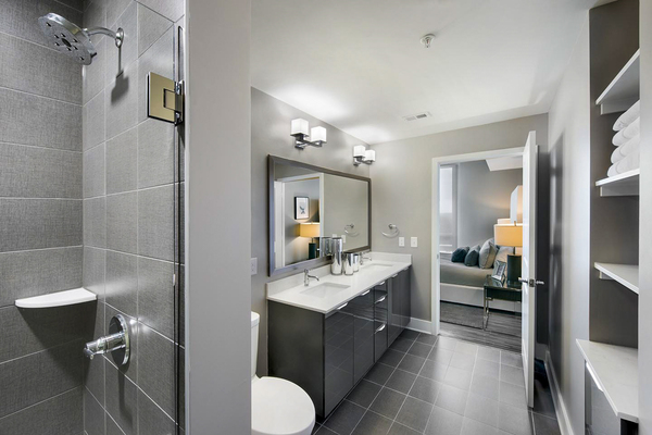 bathroom at Ascent Uptown Apartments