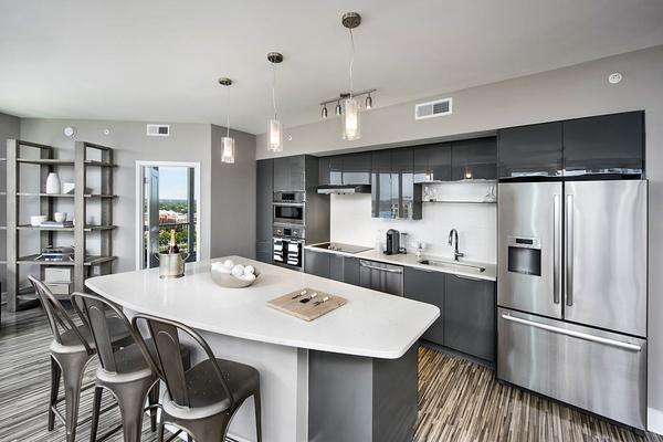 kitchen at Ascent Uptown Apartments