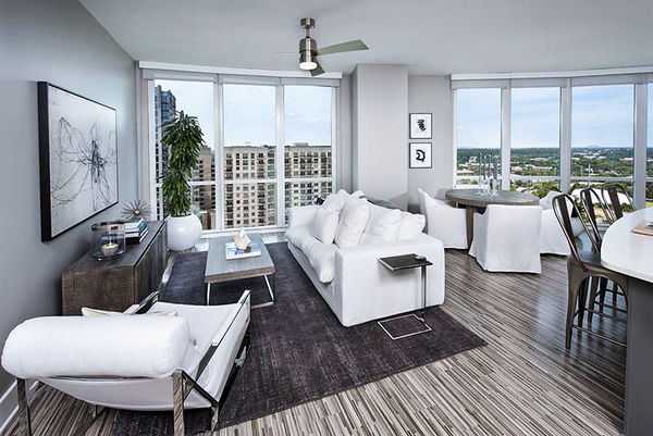 living room at Ascent Uptown Apartments