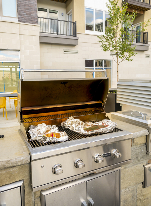 grill area at 50 Front Apartments