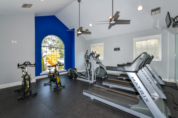fitness center at The Palmer Apartments