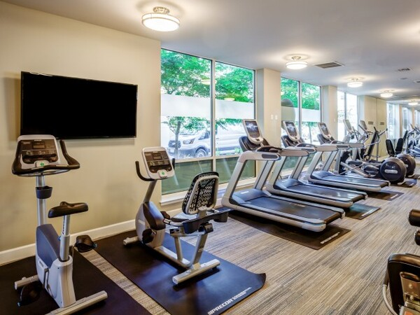 fitness center at Apex Apartments