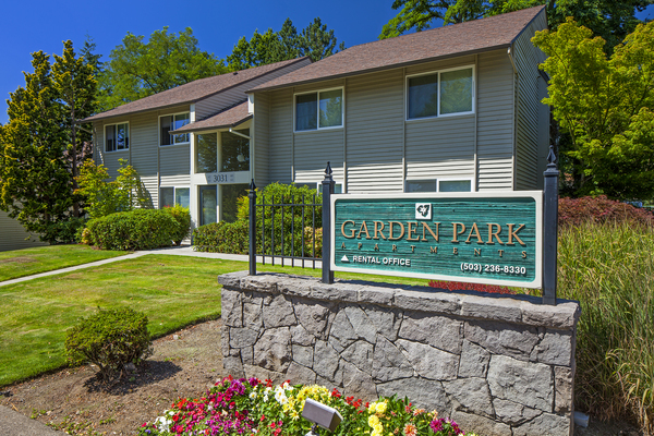 exterior signage at Garden Park Apartments