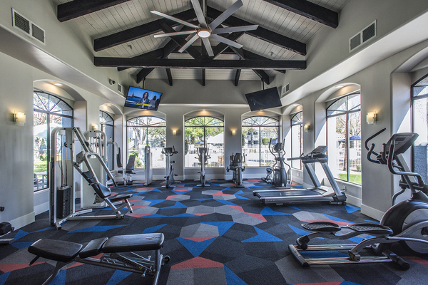 fitness center at San Valiente Apartments