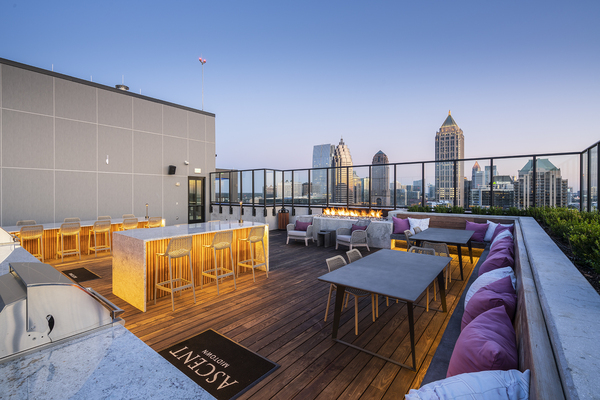 rooftop deck/fire pit at Ascent Midtown Apartments