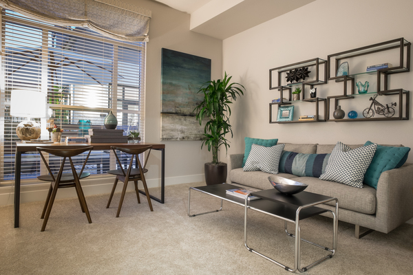 living room at Field House at Bay Meadows Apartments
