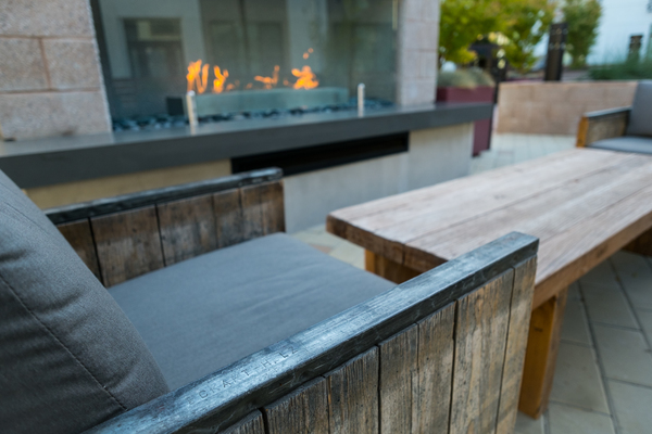 fire pit at Field House at Bay Meadows Apartments