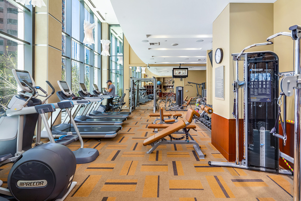 fitness center at The Olivian Apartments