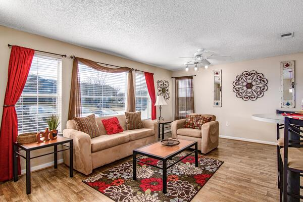 living room at The Trails at Wolf Pen Apartments