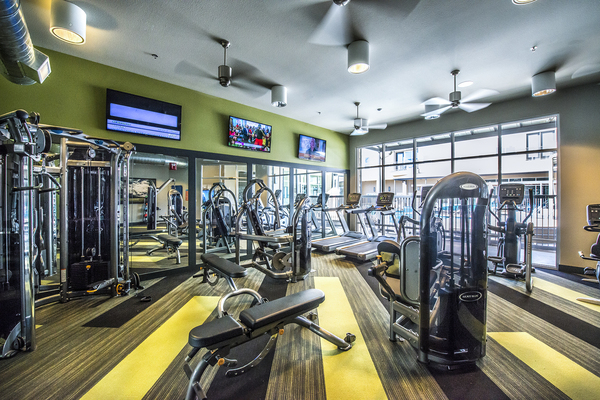 fitness center at 33 North Apartments - Student Living Apartments
