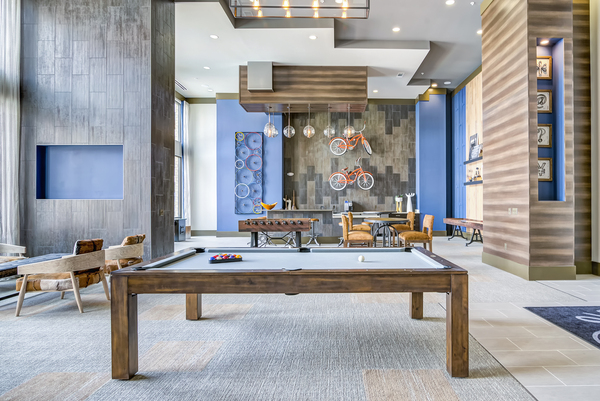 game room at One Riverwalk Apartments
