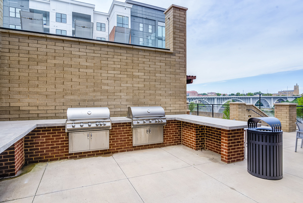 grill area at One Riverwalk Apartments