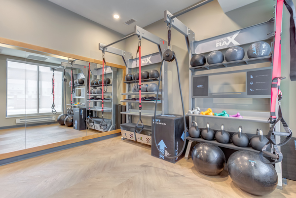 fitness center at The Marke of Elmhurst Apartments