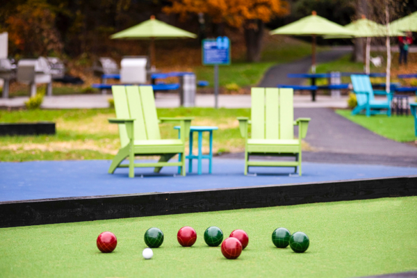 bocce sport court at Halstead Framingham Apartments