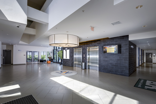 clubhouse front lobby elevator at Campus West Apartments
