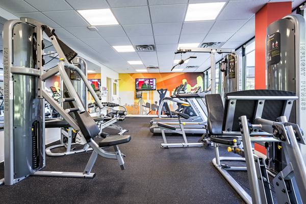 fitness center at Campus West Apartments