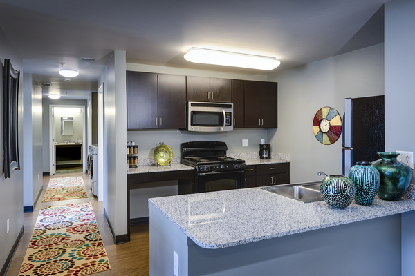 kitchen at Campus West Apartments