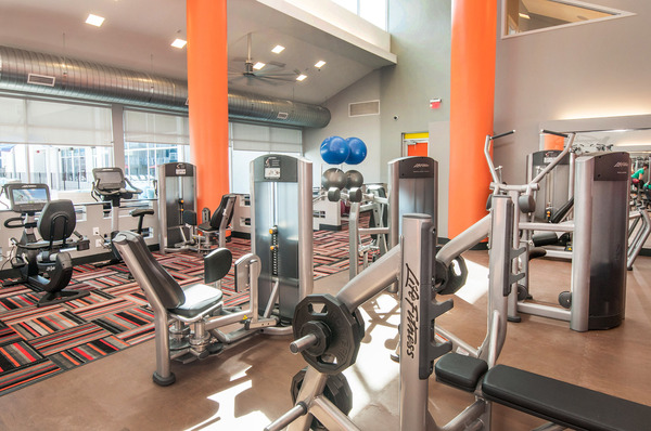 fitness center at The Ave at Norman Apartments