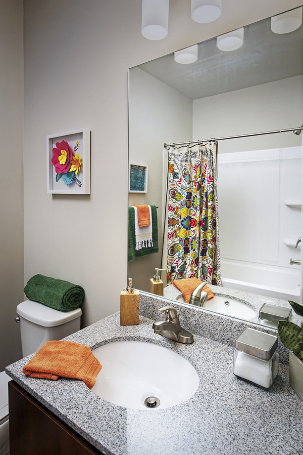 bathroom at SkyVue Apartments