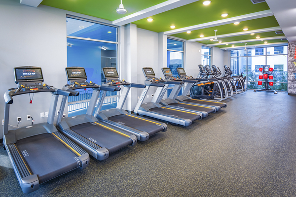 fitness center at SkyVue Apartments