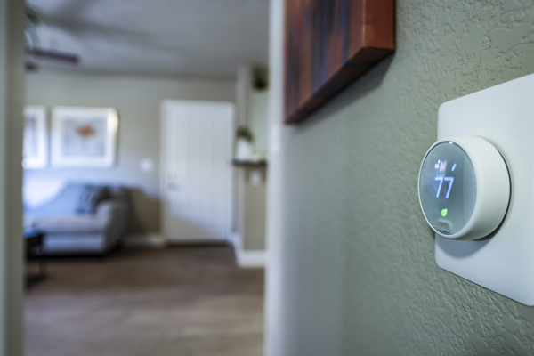 hallway thermostat at Allure at Tempe Apartments