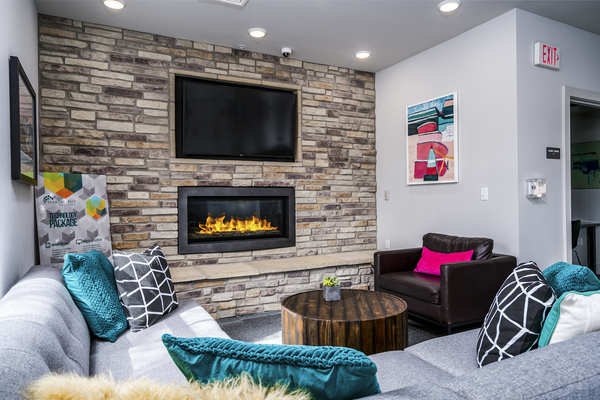clubhouse fire place at The Rocks Apartments