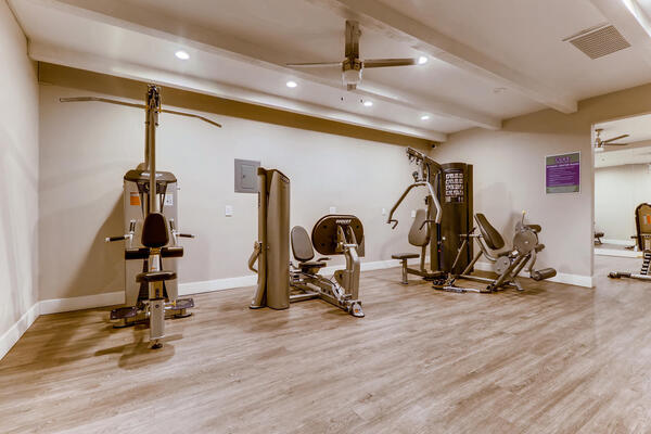 fitness center at The Luxe Apartments