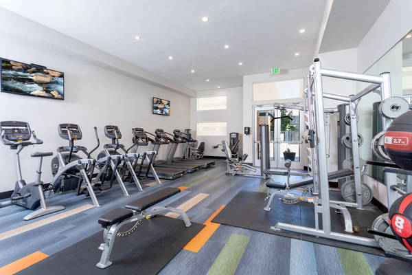 fitness center at 7166 at Belmar Apartments