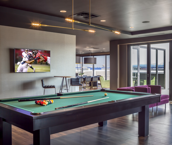 game room at The Glenn Apartments