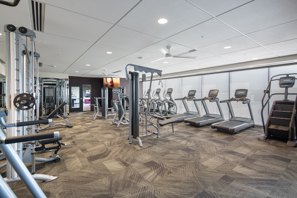 fitness center at The Glenn Apartments
