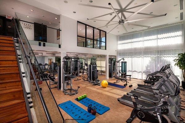 fitness center at Clarendon Apartments